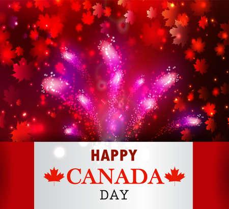canadian flag: Fireworks and Canada flag.