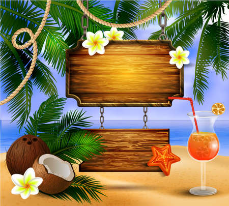 Beautiful beach view with wooden board