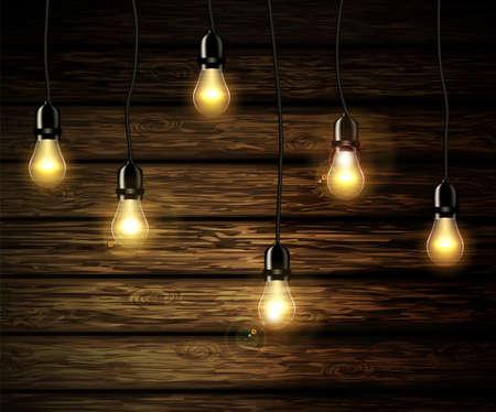 輝く光と電球。  イラスト・ベクター素材