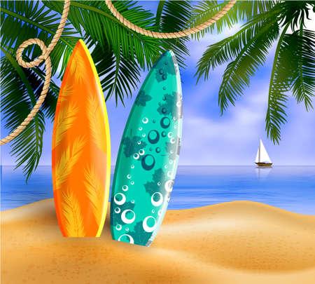 Surfboards on a beach against a sunny seascape