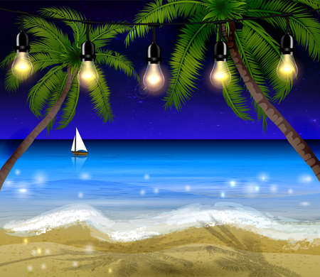 moonrise: Palm trees on night beach with patio lights and boat background vector