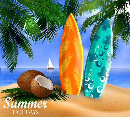 Surfboards on a beach against a sunny seascape coconut and palms Vector Illustration