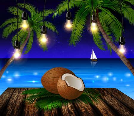 patio deck: tropical vector background