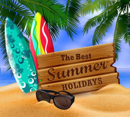 Tropical surfboard on beach, summer concept Illustration