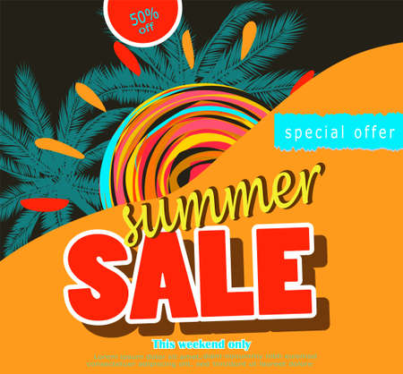 summer sale template banner Stock Photo