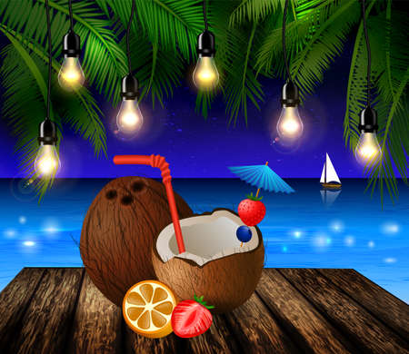Tropical vector background with leaves of palm trees summer night sky patio lightss exotic cocnut on palm leaves and wooden deck Illustration