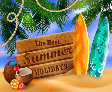 Tropical summer holidays illustration.