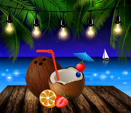 patio deck: tropical vector background with leaves of palm trees summer night sky patio lightss exotic cocnut on palm leaves and wooden deck