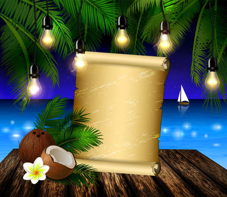 patio deck: tropical vector background with scroll paper blank leaves of palm trees summer night sky patio lightss exotic cocnut on palm leaves and wooden deck vector