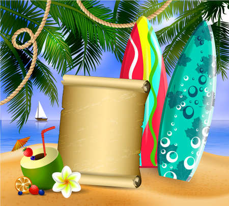 Old paper for your desighn on tropical background and exotic beverage and cocnuts and surfing boards vector Illustration