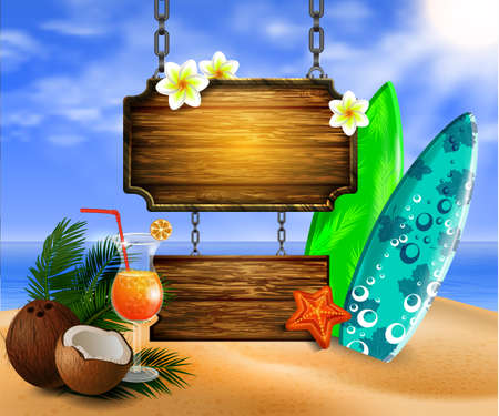 abstract flowers: summer wooden sign on tropical beach background vector Illustration