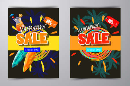 discount banner: summer sale template Flyer set vector illustration with sun