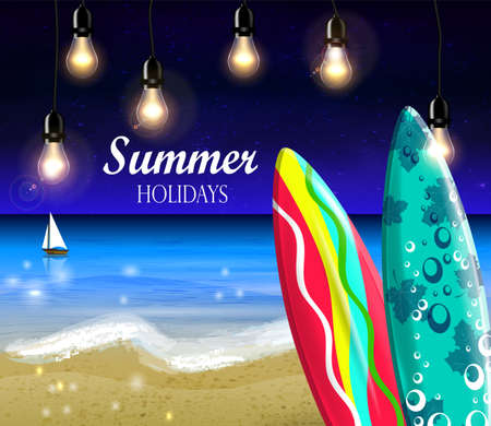 night beach surfing boards and boat with retro patio lights background vector