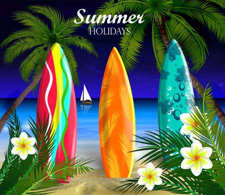 Palm trees at night Illustration