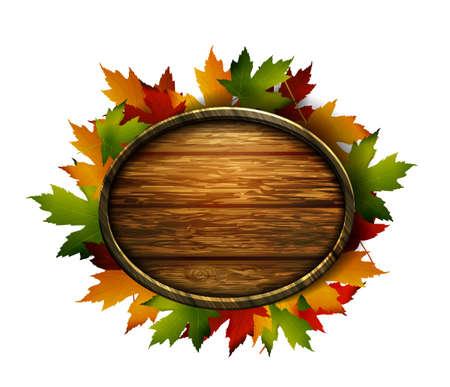realistic illustration of autumn wooden signboard
