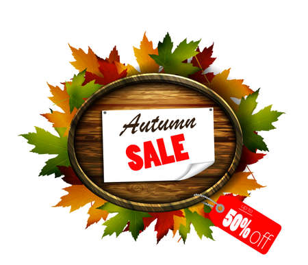 Realistic illustration of autumn sale wooden signboard.