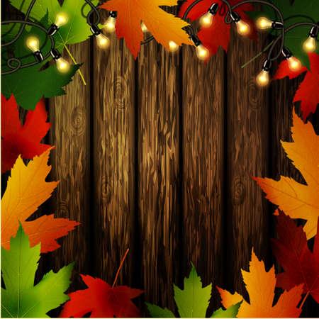 Parete in legno con cornice foglie autunnali