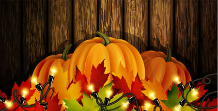 The vector illustration of pumpkins isolated on wooden background, maple leafs. It is autumn. It is Thanksgiving day Ilustracja