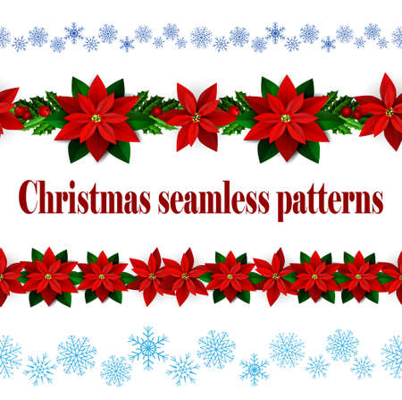 greet: Set of Seamless borders Bright Fun Christmas Winter Holidays Patterns with poinsettia and green holly and berries and snowflakes