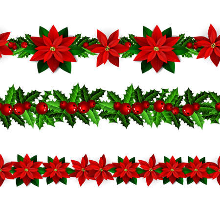 Set of Seamless Christmas borders