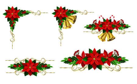 常緑の木、ヒイラギ、ポインセチアと設定のクリスマスの装飾