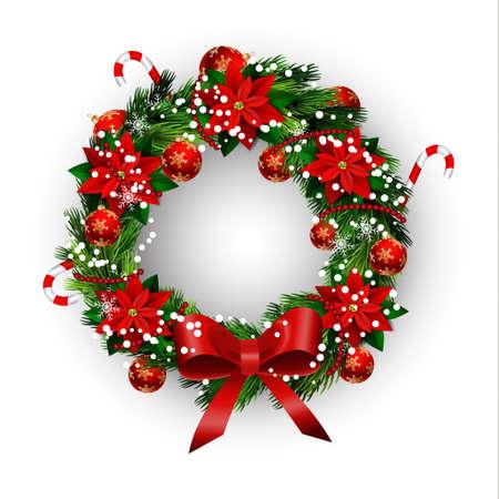 Tarjeta blanca con corona de Navidad y arco