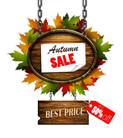Autumn sale wooden signboard.