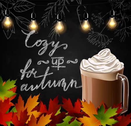 Chalkboard with autumn leaves. Фото со стока - 83574690