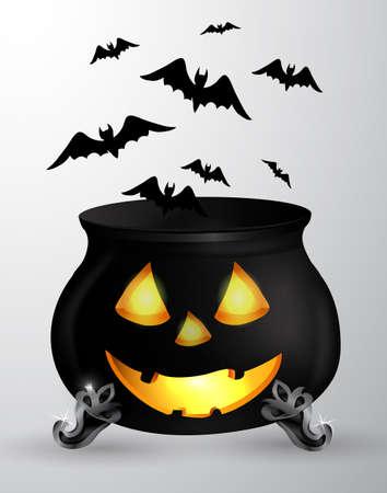 of helloween: Cartoon Halloween witchs cauldron Illustration