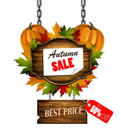 customer service representative: autumn sale wooden signboard