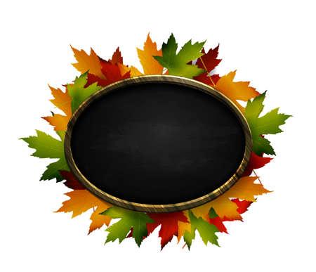 illustration of autumn chalk board signboard Vettoriali