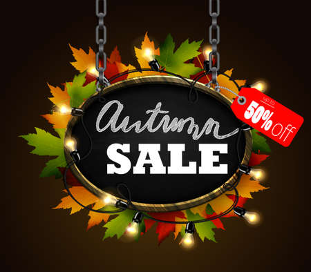 autumn sale signboard Illustration