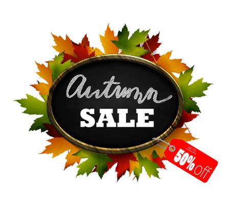 Realistic illustration of autumn sale wooden chalkboard signboard.