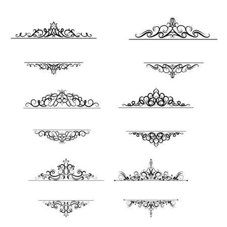 ビンテージ ベクトル旋回フレーム ホワイトのセット  イラスト・ベクター素材