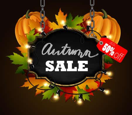 Autumn sale signboard Illustration