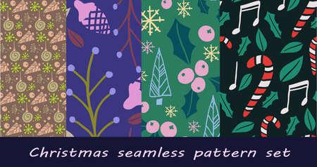 Set of Christmas themed seamless patterns Ilustração