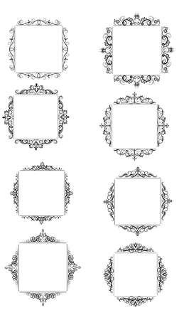 Vintage vector swirl square frame set black on white Иллюстрация