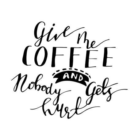 Cartel con el lema del café a mano