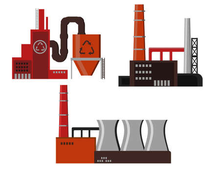 Industrial factory buildings icon Illustration