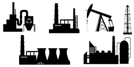 Set of industry icon silhouettes in black.