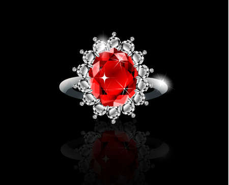 Realistic Golden ring with ruby and diamonds vector
