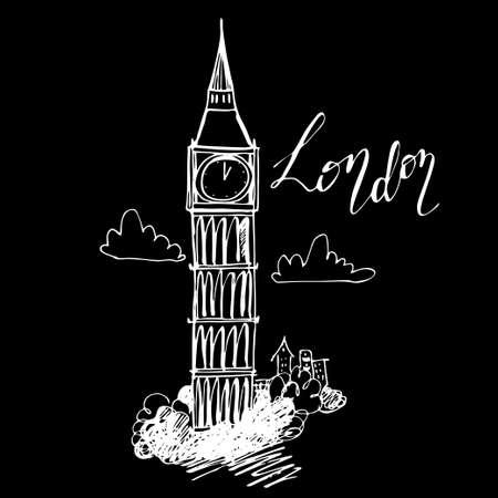 World famous landmark Big Ben, London, England hand-drawn and handwritten on black