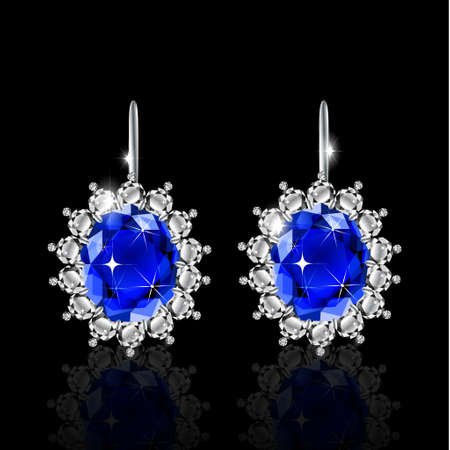 diamond earrings: White gold earrings with sapphire and diamonds vector Illustration