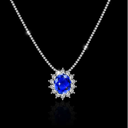 White gold necklace with sapphire and diamonds vector Stock Photo