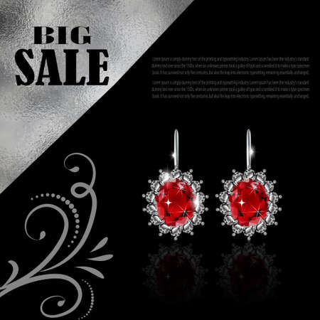 diamond earrings: jewellery sale banner with white Golden earrings vector