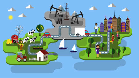 city farm and oil extraction concept vector flat infographic