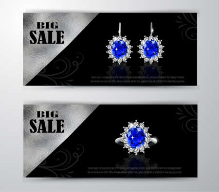 Golden earrings with sapphire and diamonds