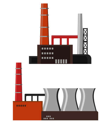 heavy industry: Industrial factory buildings icon Illustration