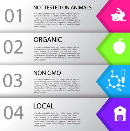 non: Infographic local non GMO organic cruelty free could be used for produce or cosmetics vector illustration