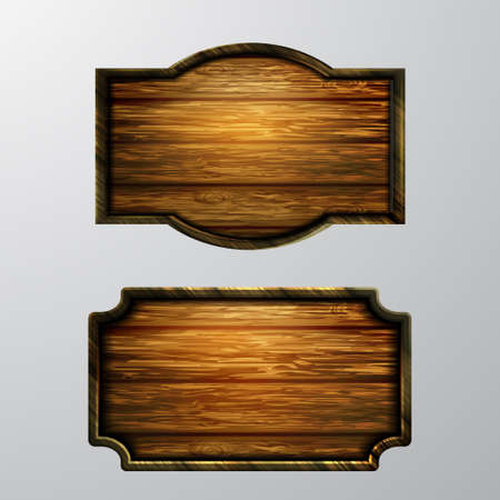 Wooden signs, vector icon set on white isolated background.
